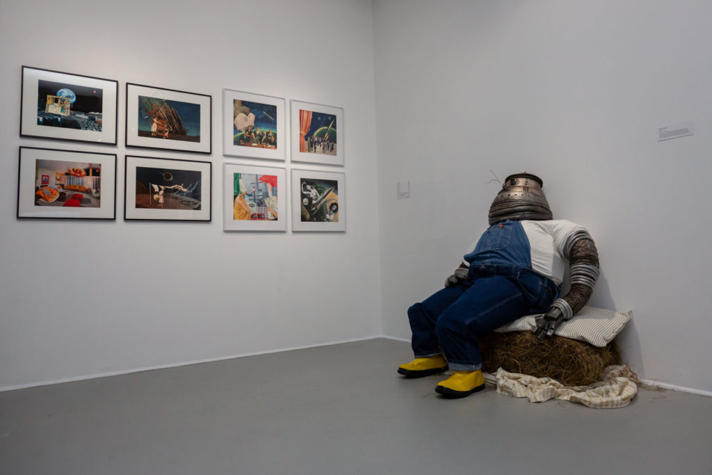 Photo by Melissa Blackall | Left: Nadine Boughton, (installation view). Right: Brenna Leaver, M0, 2019.